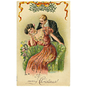 Embossed Romantic Merry Christmas Postcard with Glitter