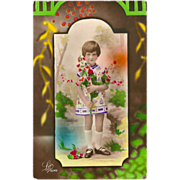Art Deco French 1933 Tinted Photo Postcard of Young Girl with Flowers