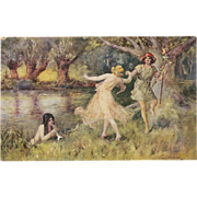Artist Signed Thomas Maybank Postcard of A Fairy Dance