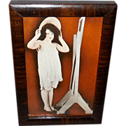 Risque Arcade Card of Art Deco Style Lady in Wood Frame