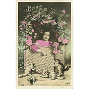 French Tinted Postcard of Young Girl with Kittens - Bonne Fete