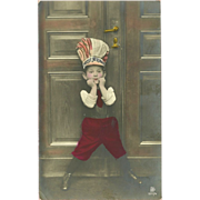 Tinted German Photo Postcard of Young Boy in Hat - Happy New Year
