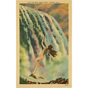 SOLD Metrocraft Linen Postcard of Indian Maiden - White Man's Fancy Niagara Falls