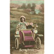 SOLD French 1914 Tinted New Year Postcard of Girl in Old Car