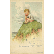 Charles Twelvetrees Lonesome Boy Postcard - Edward Gross NY - 2 of 2