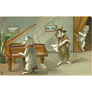SOLD Raphael Tuck Postcard by Maurice Boulanger of Singing Cats
