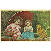 Birthday Greetings Postcard with Two Children and Dog