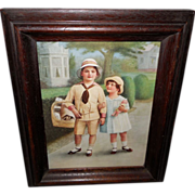 Vintage Print of Young Boy and Girl with Doll in Wood Frame
