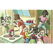 Alfred Mainzer Dressed Dogs Postcard - In the Kitchen