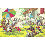 SALE Alfred Mainzer Dressed Dogs Postcard - Playing in the Yard