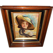 Prudential Insurance Company 1913 Calendar Girl in Multi-Layer Eastlake Frame