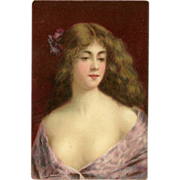 Undivided Angelo Asti Postcard of Lady in Lilac