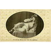 SALE Embossed Photo Postcard of Reclining Woman with Cigarette