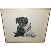 Puppy and Kitten Vintage Print by Janusz Grabianski