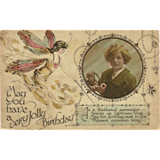 SOLD Vintage Birthday Postcard with Fairy and Tinted Photo
