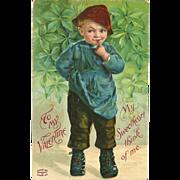 Embossed Vintage 1909 Valentine Postcard of Young Boy