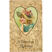 SALE Undivided Embossed Valentine Postcard of Girl in Heart