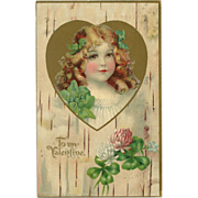 Vintage 1907 Valentine Postcard with Young Girl