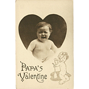 Vintage Valentine Postcard with Crying Baby