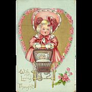 Raphael Tuck 1912 Embossed Valentine Postcard - Dainty Dimples