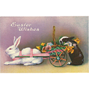 Vintage Easter Postcard with Two Bunny Rabbits
