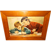 Vintage Print of Two Boys Writing - Titled Showing Off
