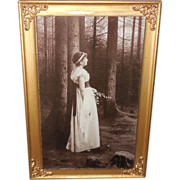 Vintage Print on Glass of Lady in the Woods - Table Top Frame
