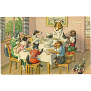 SOLD Max Kunzli Dressed Dogs Postcard by Mainzer - Eating Together
