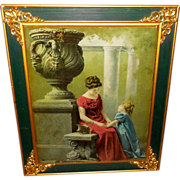 McLoughlin Brothers 1902 Print on Glass of Mother and Daughter