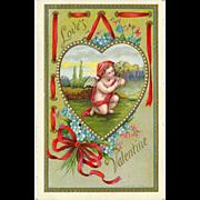 SALE Embossed 1909 Valentine Postcard - Cherub inside Heart