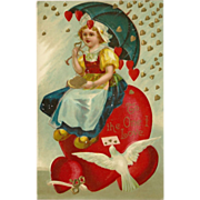SALE Embossed 1909 Valentine Postcard with Dutch Girl on Heart