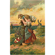 SOLD Embossed 1907 PFB Easter Postcard of Girl with Lamb