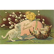 Embossed Advertising 1903 Easter Postcard with Kittens and Chick