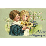 Raphael Tuck Embossed Easter Postcard - Boy and Girl with Chicks