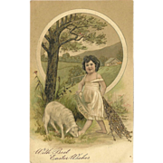 Embossed PFB Easter Postcard of Girl with Lamb