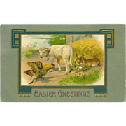 Winsch 1908 Easter Postcard with Lamb, Hen, and Rabbits