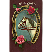 SOLD Embossed Good Luck Postcard with White Horse and Roses