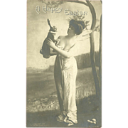 Rotograph 1906 Undivided Easter Photo Postcard of Fantasy Woman Holding Rabbit