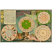 SOLD Embossed Fortune Teller Romance Game Postcard with Oracle Cherub 1910
