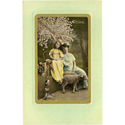 SALE Vintage Easter Tinted Photo Postcard of Mother and Daughter with Sheep