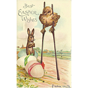 SALE Undivided Embossed Easter Postcard with Chick on Stilts