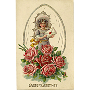 SALE Embossed Easter Postcard of Young Girl with Roses