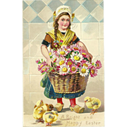 SALE Raphael Tuck Undivided Embossed Easter Postcard of Dutch Girl and Chicks