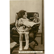SOLD Real Photo Postcard of Young Girl with Teddy Bear