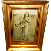Lovely Photo Print of Woman in Sheer Outfit - Lemon Gold Frame