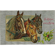 Embossed Winsch Christmas Postcard with Three Horses