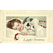 SALE Embossed 1914 Christmas Postcard of Child Asleep with Toys
