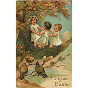 PFB Embossed Easter Postcard of Three Children in Bird's Nest