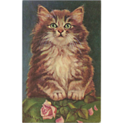 SOLD Vintage Artist Signed Postcard of Cat with Roses