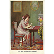 Vintage Artist Signed German Postcard of Lady Reading her Fortune